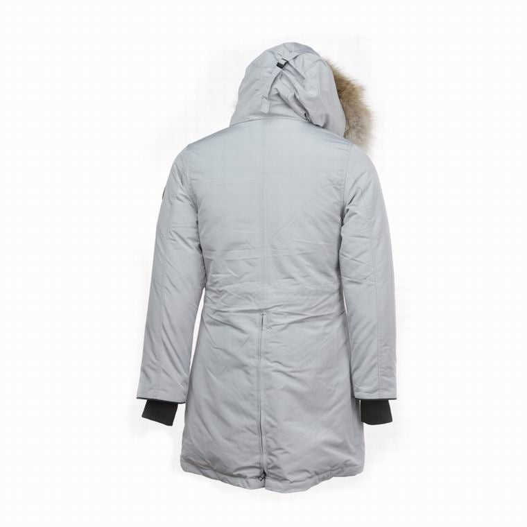 CANADA GOOSE WOMAN CENTER BUTTONED FUR HOODED COAT WHITE SMOKE