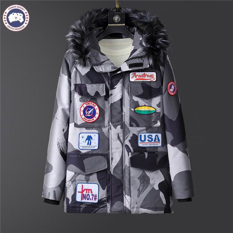 CANADA GOOSE PATCHES FUR HOODED JACKET GREY CAMOUFLAGE