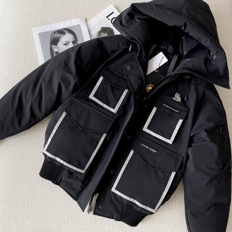 CANADA GOOSE ZIPPER BUTTONED HOODED JACKET BLACK WHITE