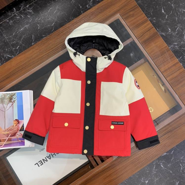 Canada Goose buttoned Hooded Jacket CORNSILK AND RED