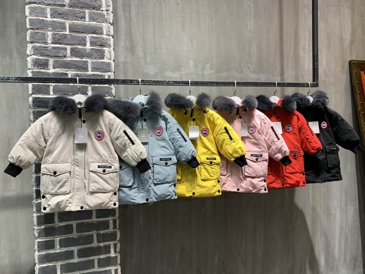 CANADA GOOSE TWO FRONT POCKET KID FUR HOODED JACKETS