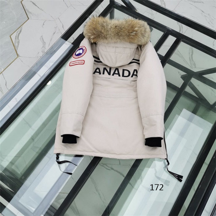 CANADA GOOSE BUTTONED ZIPPER  FUR HOODED JACKET WHEAT