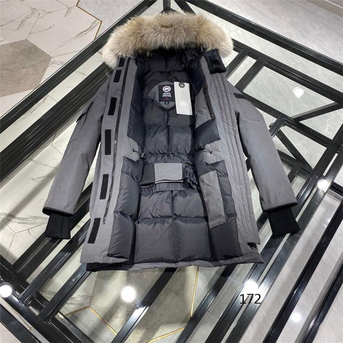 CANADA GOOSE LOOSE BUTTONED ZIPPER FUR HOODED COAT GREY