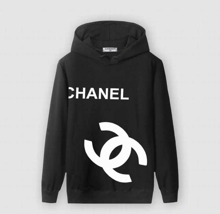 CHANEL BLACK HOODIE LOGO SIDE WHITE PRINT