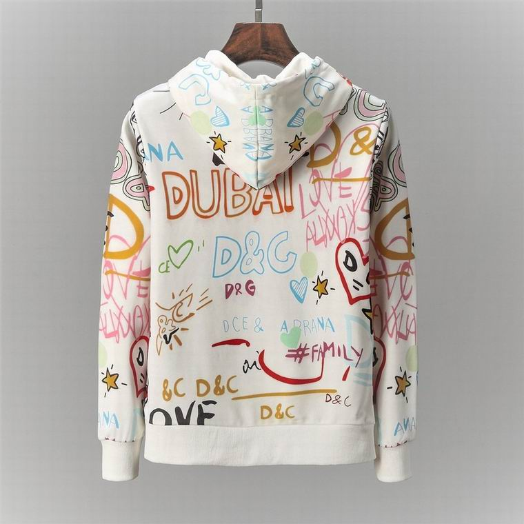 D&G Hoodies White Colorful Lettering Print