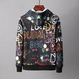 D&G Hoodies Black Colorful Lettering