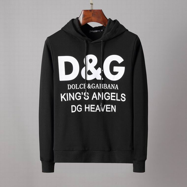 D&G Hoodies Black King's Angels Print