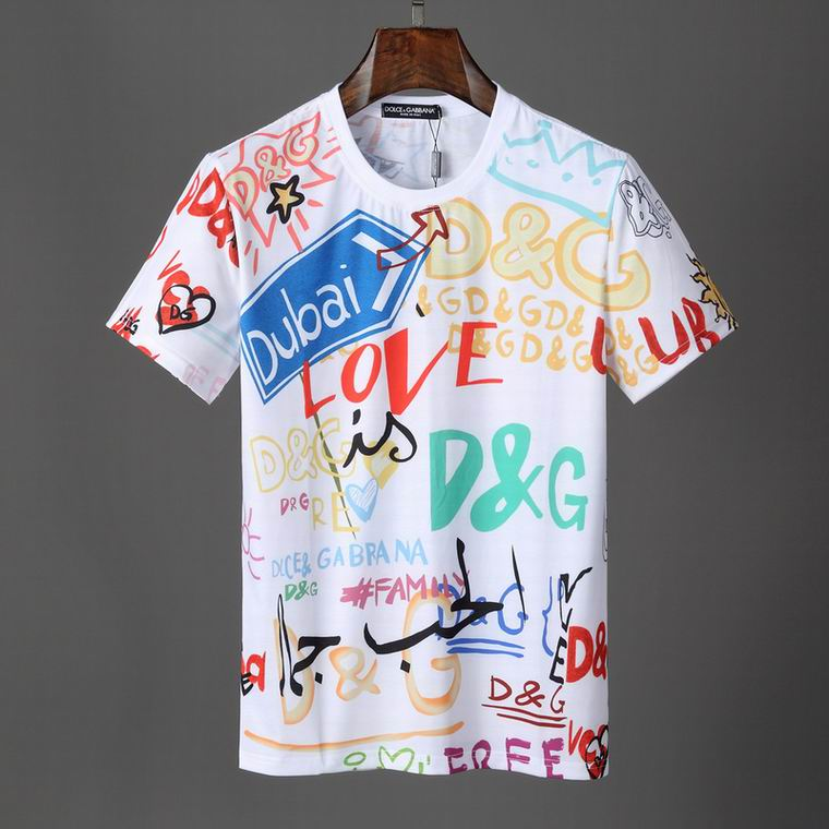 D&G T Shirt White Colorful Letters Print