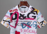 D&G T Shirt White Fashion Letters Print
