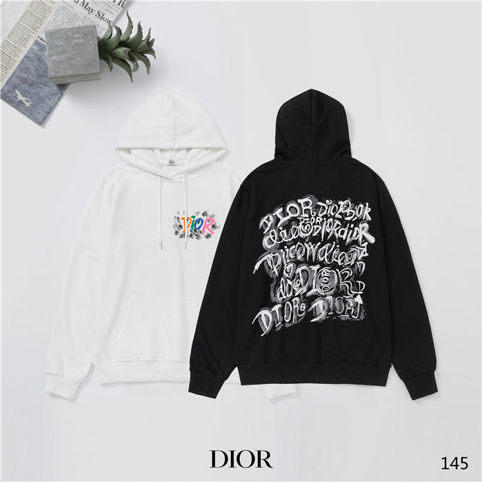 Black and White Long Sleeve Dior Hoodies