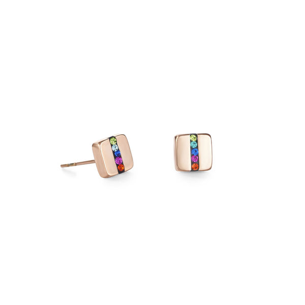 COEUR DE LION - Geo Cube Rose Gold & Crystal Pave Multicoloured Earrings