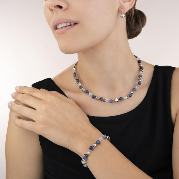 COEUR DE LION - Twisted Style Stainless Steel Natural Sodalite Necklet