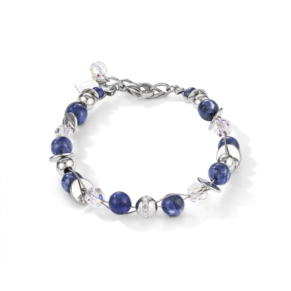 COEUR DE LION - Twisted Style Stainless Steel Natural Sodalite Bracelet
