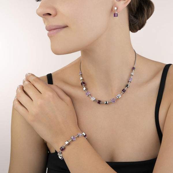 COEUR DE LION - Cube Amethyst & White Earrings