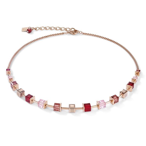 COEUR DE LION - Geo cube soft pinks & red necklet