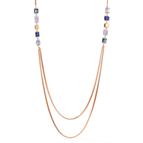 COEUR DE LION - Geo Cube Long Style Natural Chalcedony & Sodalite Necklet