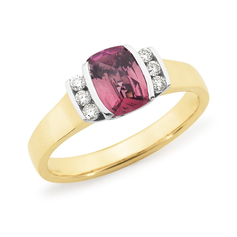 Pink Tourmaline & Diamond End Set Dress Ring in 9ct Yellow & White Gold