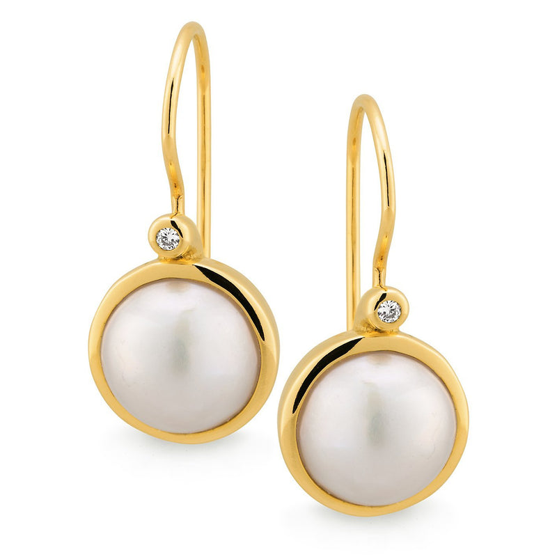 Mabe Pearl & Diamond Drop Earrings in 9ct Yellow Gold