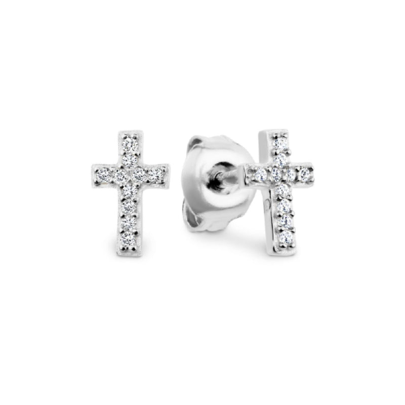 Georgini - Sterling Silver Cubic Zirconia Baby Cross Stud Earrings