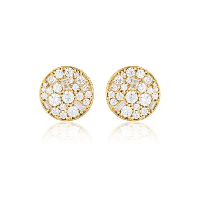 Georgini - Mosaic Disc Gold  Cubic Zirconia Stud Earrings