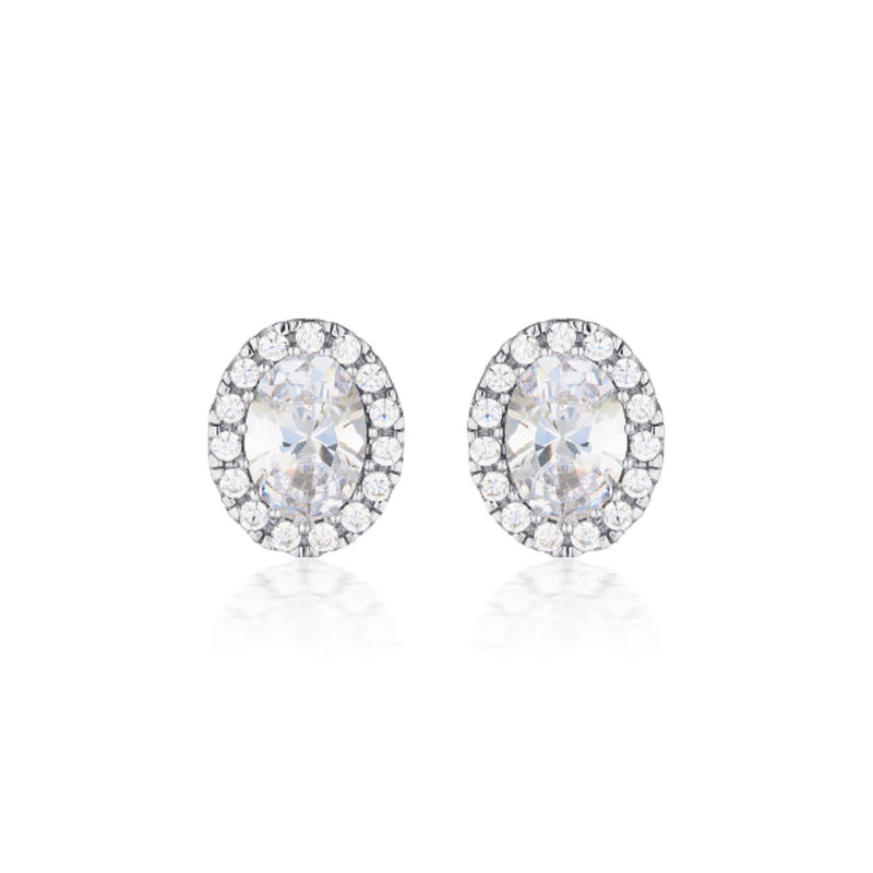 Georgini - Oval Halo Sterling Silver Cubic Zirconia Stud Earrings