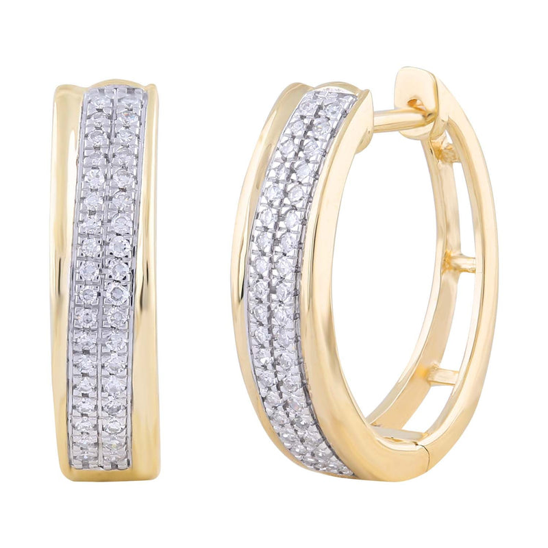 Huggie Earrings with 0.2ct Diamonds in 9K Yellow Gold