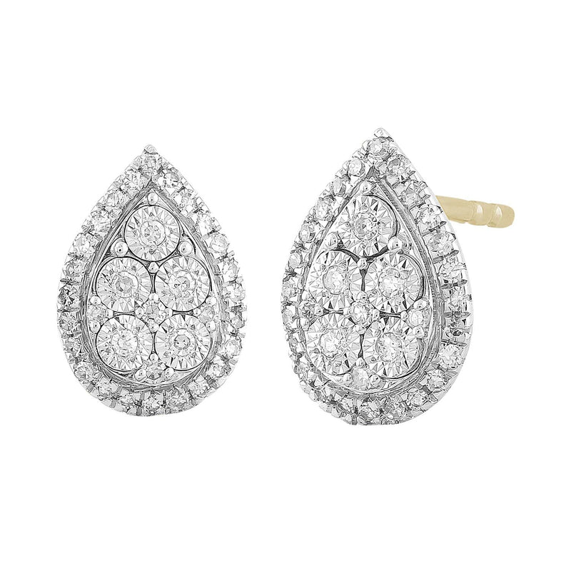 Pear Stud Earrings with 0.2ct Diamond in 9K Yellow Gold
