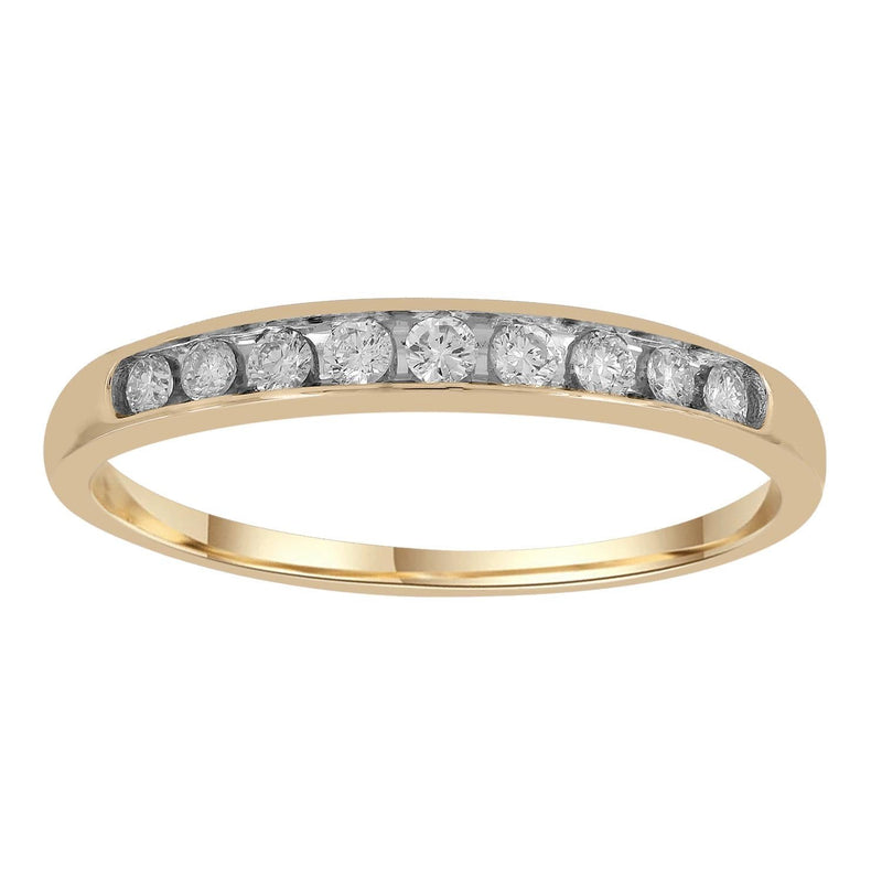 Band Ring with 0.2ct Diamonds in 9K Yellow Gold