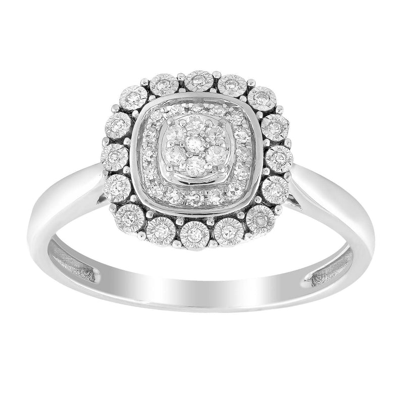 Cluster Ring with 0.15ct Diamond in 9K White Gold