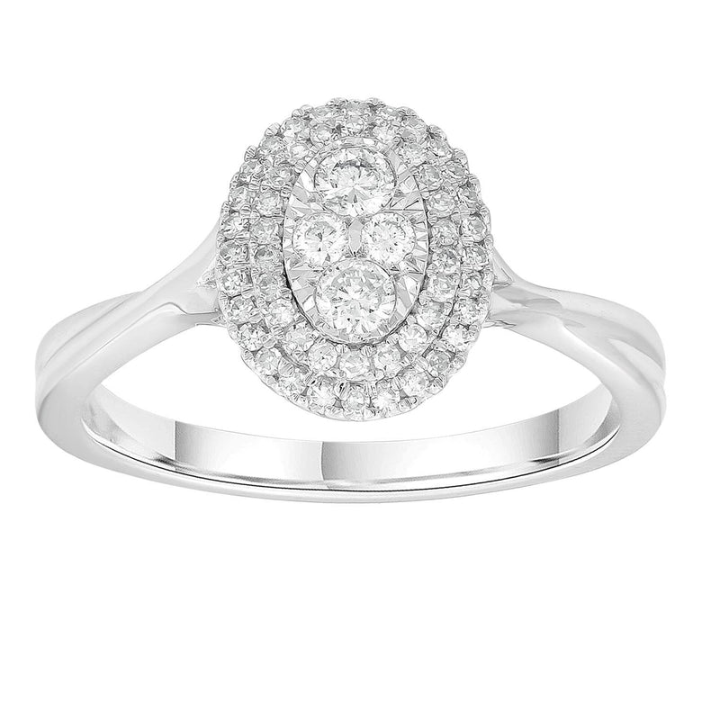 Cluster Ring with 0.3ct Diamonds in 9K White Gold