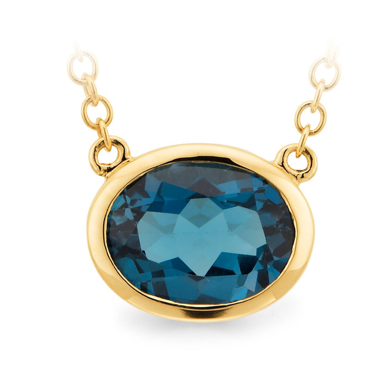 London Blue Topaz Bezel Set Necklet in 9ct Yellow Gold