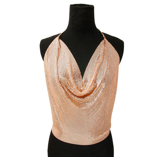 Liquid Mesh Rose Gold Halter Top