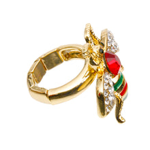 Load image into Gallery viewer, Rhinestone Bee Stretch Ring with Red Rhinestone Detail
