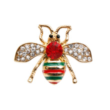 Load image into Gallery viewer, Gucci Style Rhinestone Bee Stretch Ring with Red Rhinestone Detail