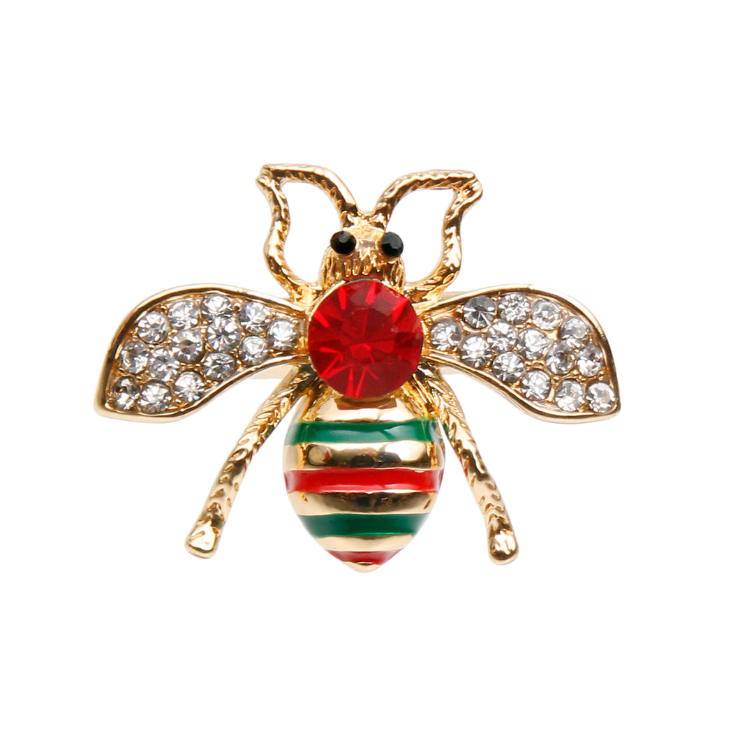 Gucci Style Rhinestone Bee Stretch Ring with Red Rhinestone Detail