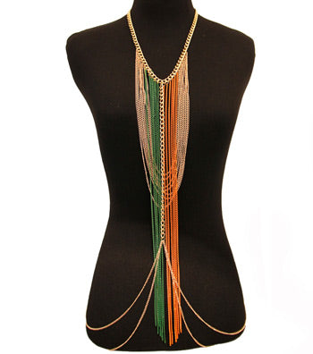 Gold Green and Orange Body Chain