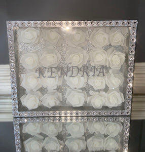 ASHTRAYS: SHADOW BOX W/ FAUX ROSES- LOCAL PICK UP ONLY