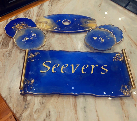 ASHTRAYS: RESIN TRAY, COASTER & WINE BUTLER SETS
