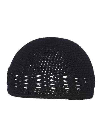 Black Crochet Knit Beanie Skull Cap Hat