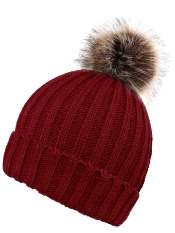 Womens Knit Winter Warm Pom Pom Beanie Hat Red