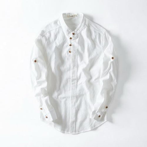 Unique new designer long sleeve shirt men linen solid stand collar flax mens