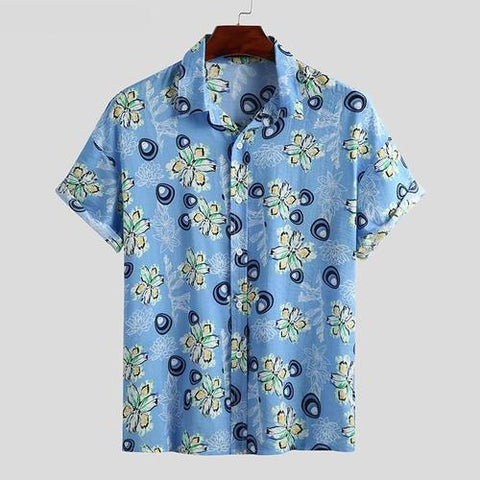 Summer Men's Shirt Floral Print Short Sleeve Lapel Beach