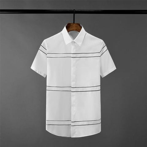 Stripe Embroidery Mens Shirts Luxury Short Sleeve Casual Mens