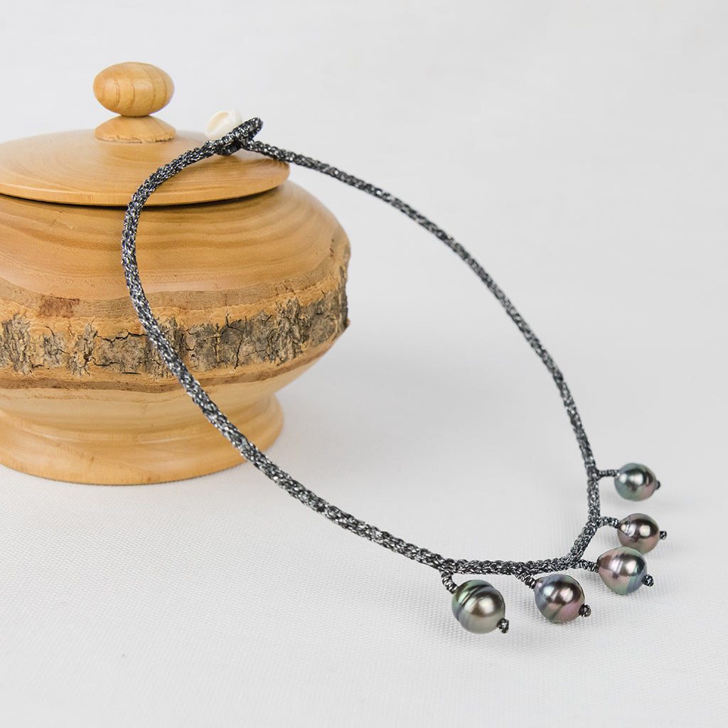 Silver Choker with Five Baroque Tahitian Pearls around the Neck