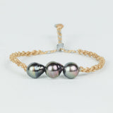 Handmade Bracelet with 3 Baroque Tahitian Pearls