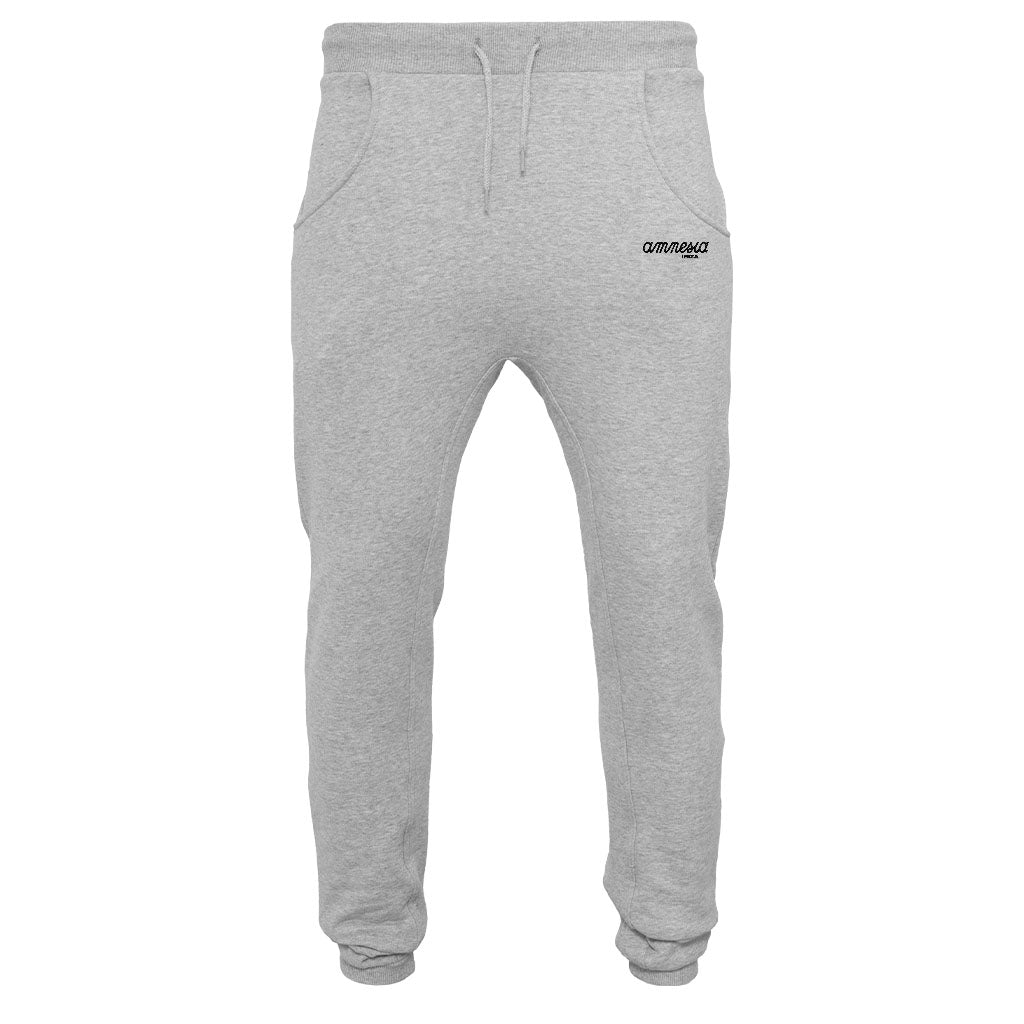Amnesia Ibiza Black Embroidered Logo Men's Deep Crotch Sweatpants-Amnesia Ibiza Store