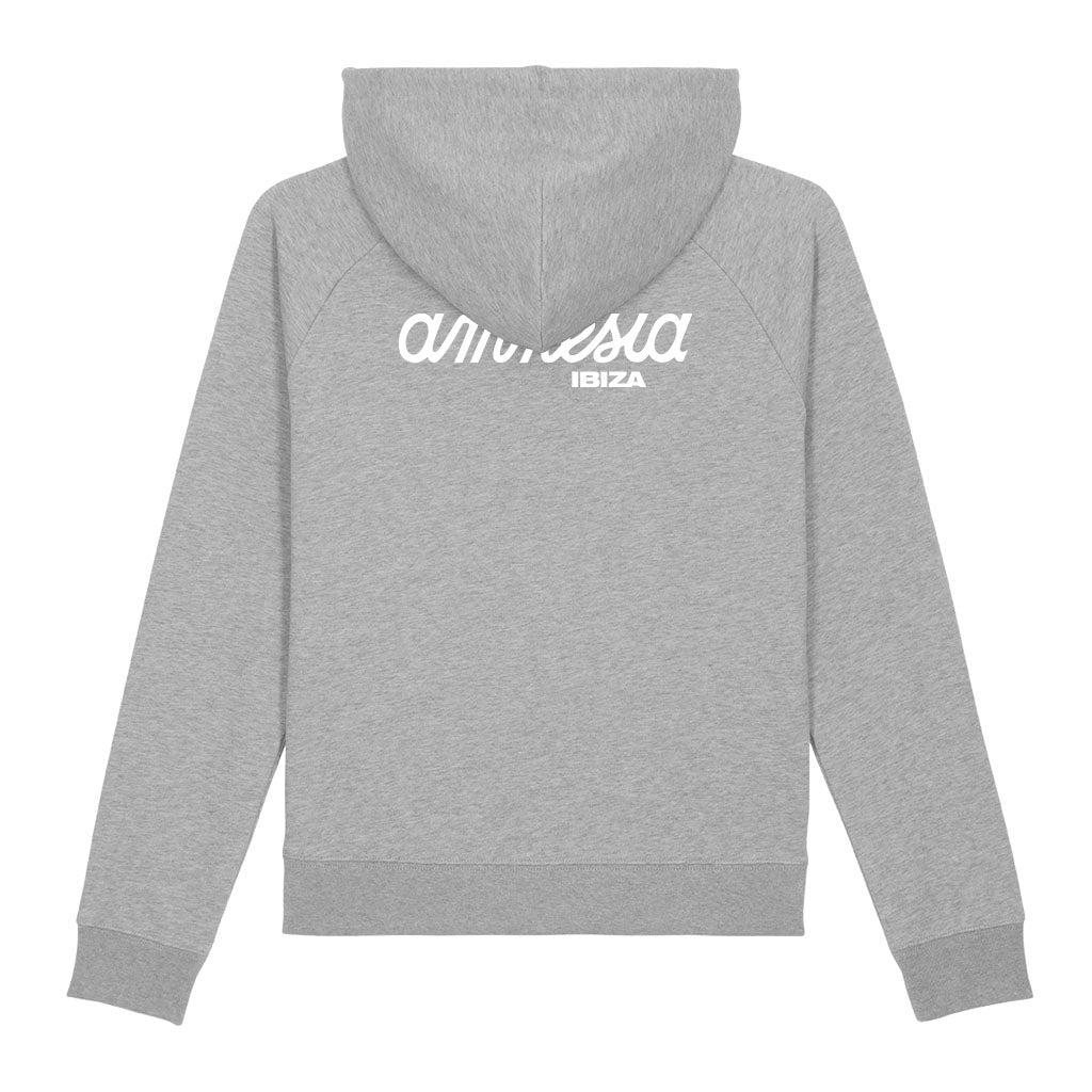 Amnesia Ibiza White Logo Front And Back Print Men's Cruiser Iconic Hoodie-Amnesia Ibiza Store