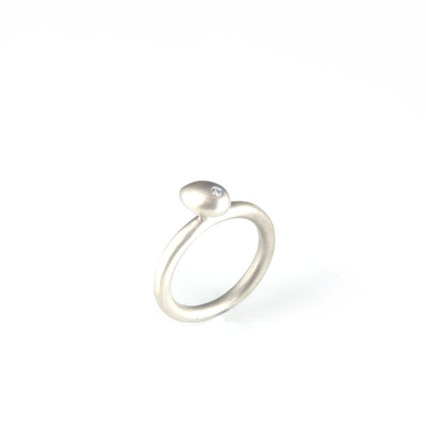 'Best Before' - 0.8cm silver whole egg ring with diamond
