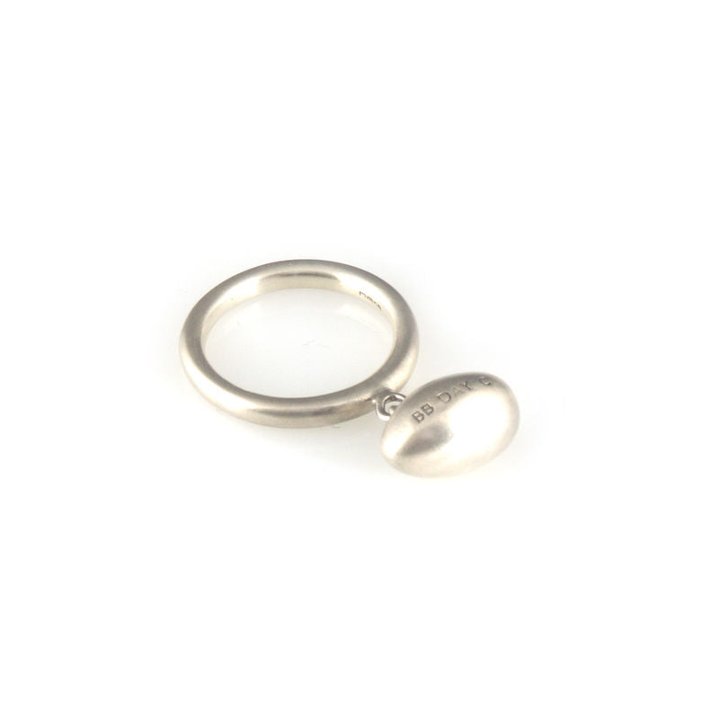 'Best Before' - 1.5cm silver egg ring