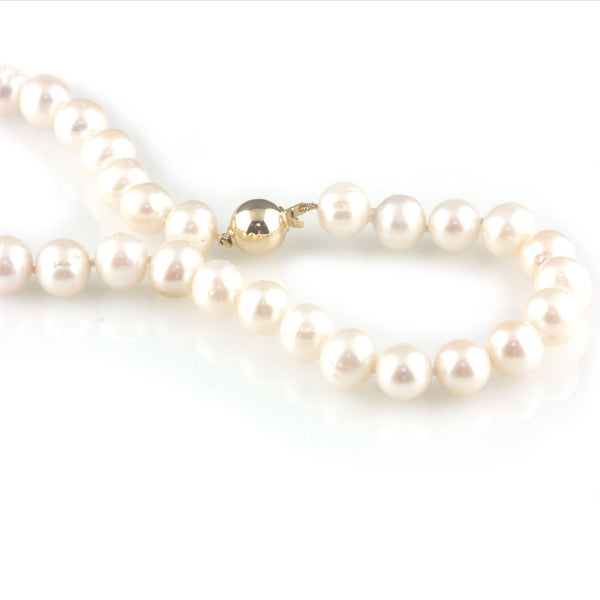 'Pearl Wonder' - Pearl necklace with 9ct gold ball clasp